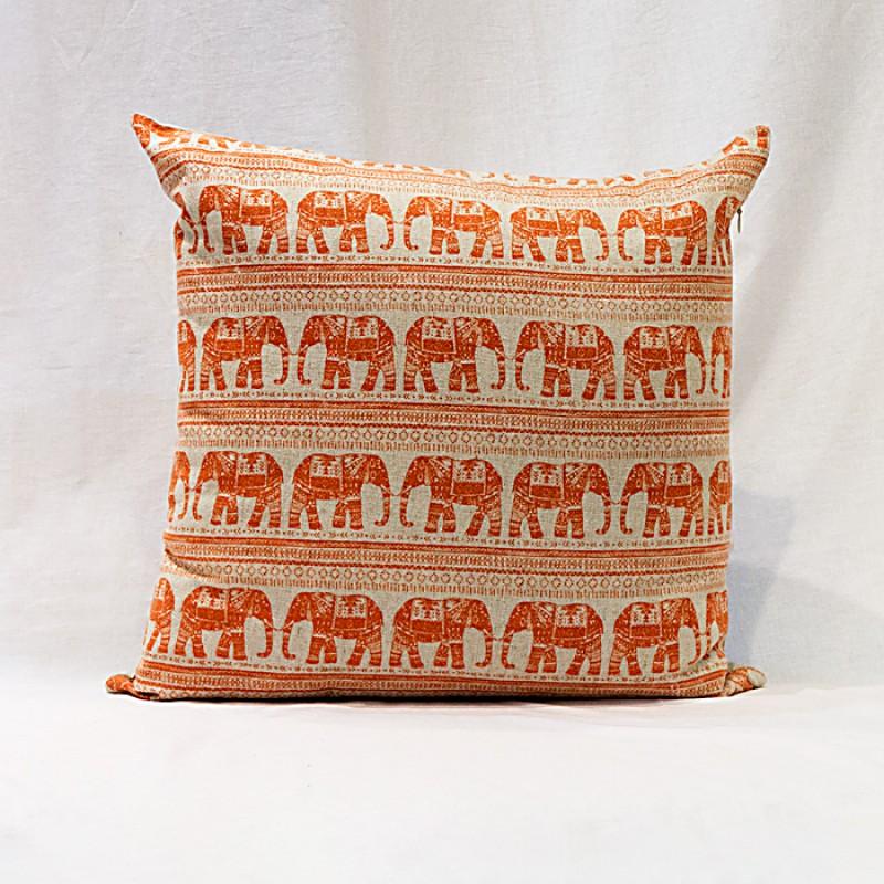 Capa para almofada - Estampa elefantes laranja 40x40cm