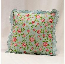 Capa para almofada - Estampa rosas com babado 40x40cm