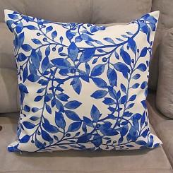 Capa para almofada folha azul 45x45cm