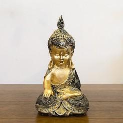 Escultura Buda com acabamento dourado