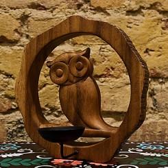Lanterna decor madeira coruja para vela