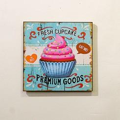 Placa Decorativa - Cupcake rosa 24x24cm