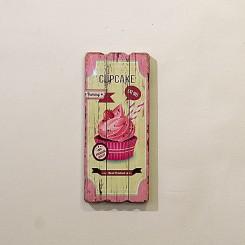 Placa Decorativa - Cupcake rosa 15x30cm