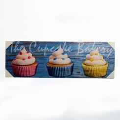 Quadro Decorativo - Cup Cakes azul 30x90cm