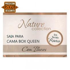 Saia cama box nature collection queen size com ilhoses