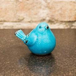 Escultura pássaro em cerâmica azul