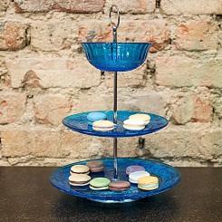 Porta doces vidro azul