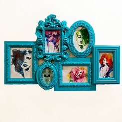 Porta Retrato 6 Fotos - Azul 42x63cm
