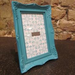 Porta Retrato de Plástico Azul Turquesa - Pequeno