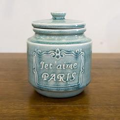 Pote de cerâmica com tampa Paris