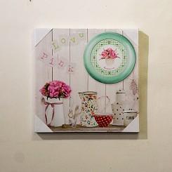 Quadro Decorativo - tela impressa relógio bule e flores 40x40cm