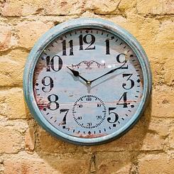 Relógio de parede azul envelhecido