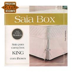 Saia cama box tecido rústico king com ilhoses