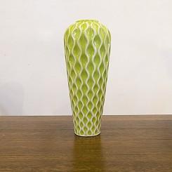Vaso cerâmica verde ondas