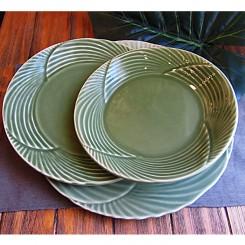 Aparelho de jantar verde 18 peças