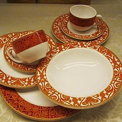 Aparelho de jantar dourado e vermelho 30 peças